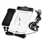 Universal Waterproof Bag with Earphone / Armband / Strap for IPHONE / Cell Phone - White + Black