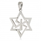 Unique Men's Hexagram Style Stainless Steel Necklace Pendant - Silver