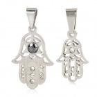 Elegant Flower Pattern Stainless Steel Necklace Pendants for Couples - Silver (2-Piece Pack)