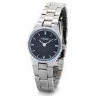 DIHINO Fashion Lady's Alloy Round Dial Quartz Waterproof Wrist Watch - Black + Silver (1 x LR626)