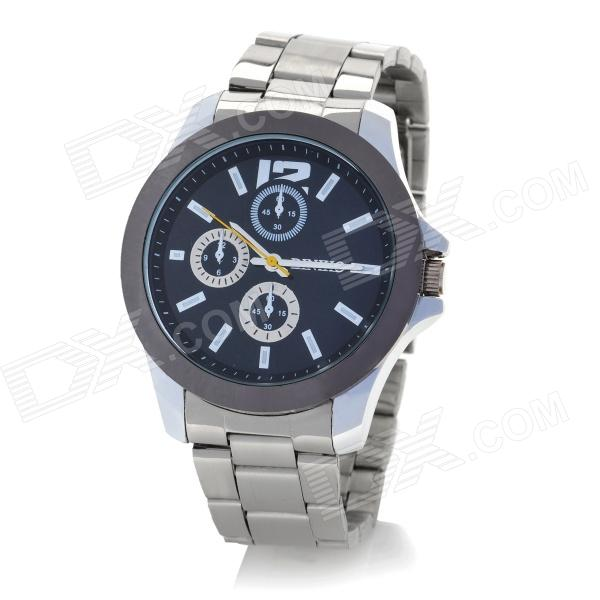 DINIHO Men's Stainless Steel Round Dial Quartz Waterproof Wrist Watch - Black + Silver (1 x LR626) diniho fashion men s stainless steel round dial quartz wrist watch black silver 1 x lr626