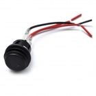 3-Cable Car Vehicle DIY Push Button Switch with LED Green Light - Black
