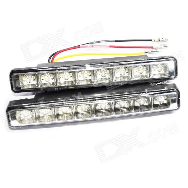 3W 300LM 6000K 8-LED White Light Car Daytime Running Lamps (Pair / 12V) 3w 800ml 6000k white cob led car fog light daytime running lamp black transparent 2 pcs