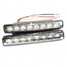 3W 300LM 6000K 8-LED White Light Car Daytime Running Lamps (Pair / 12V)
