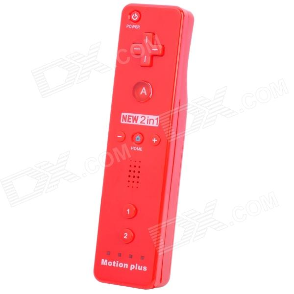 Compatible Remote Controller w/ Motion-Plus / Silicone Case for Wii - Red (2 x AA)