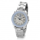 DINIHO Lady's Stainless Steel Round Dial Quartz Waterproof Wrist Watch - White + Silver (1 x LR626)