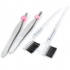 Cosmetic Eyebrow Clip / Brush / Comb Set - Silver (2-Piece Pack)
