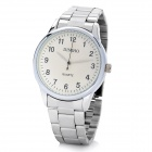 DINIHO Fashion Men's Stainless Steel Round Dial Quartz Wrist Watch - White + Silver (1 x LR626)