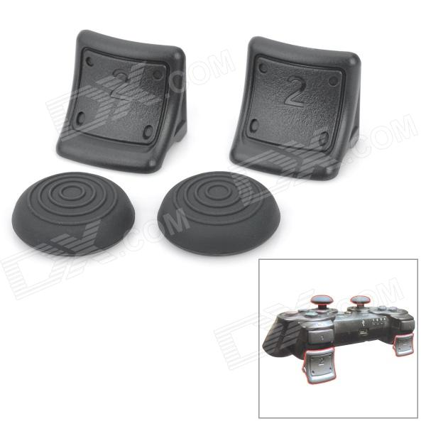Replacement Plastic Triggers w/ Silicone Cap Covers for PS3 Wireless Controller - Black (Pair)