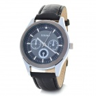 DINIHO Fashion Men's PU Leather Band Round Dial Quartz Wrist Watch - Black + Silver (1 x LR626)