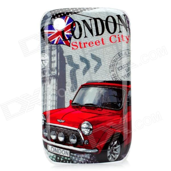 London Streetview Pattern Protective Case for BlackBerry 8520 / 8530 - Red + Grey polo car style protective plastic case for blackberry 8520 8530