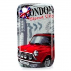 London Streetview Pattern Protective Case for BlackBerry 8520 / 8530 - Red + Grey