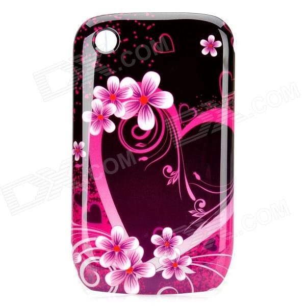 Elegant Flower Pattern Protective Plastic Back Case for BlackBerry 8520 / 8530 - Pink + Black polo car style protective plastic case for blackberry 8520 8530