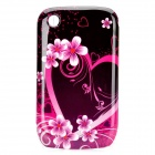 Elegant Flower Pattern Protective Plastic Back Case for BlackBerry 8520 / 8530 - Pink + Black