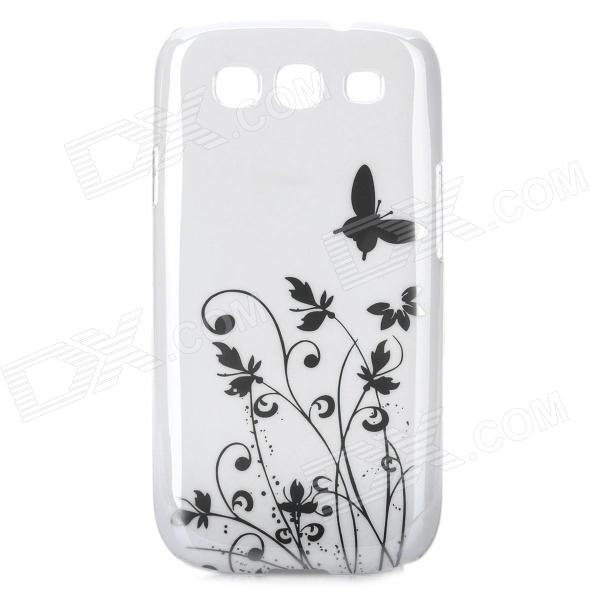 Elegant Flower and Butterfly Pattern Protective Case for Samsung Galaxy S3 i9300 - White + Silver kinston colorful flowers and butterflies pattern plastic protective case for samsung galaxy s3 i9300