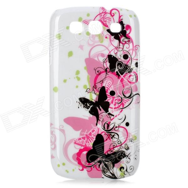 Elegant Butterfly Pattern Protective Case for Samsung Galaxy S3 i9300 - White + Black + Pink kinston colorful flowers and butterflies pattern plastic protective case for samsung galaxy s3 i9300