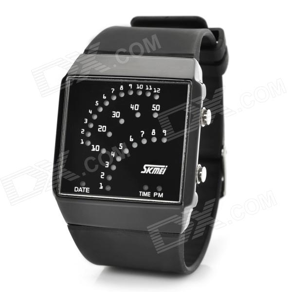 Fashion Plastic Band Blue / Red LED Square Waterproof Wrist Watch - Black (1 x LR626) fashion stainless steel red yellow led water resistant wrist watch black 2 x cr2016