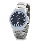 DINIHO Fashion Men's Stainless Steel Round Dial Waterproof Wrist Watch - Black + Silver (1 x LR626)