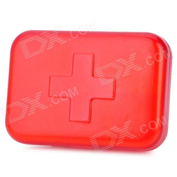 Red Cross Pattern Portable Medicine Organizer Box - Red (6-Grid)