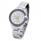 DINIOH Lady's Stainless Steel Round Dial Quartz Waterproof Wrist Watch - White + Silver (1 x LR626)