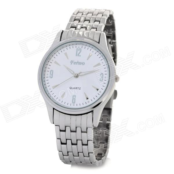 Feiwo Stylish Men's Steel Band Round Dial Quartz Waterproof Wrist Watch - Silver + White (1 x 377)
