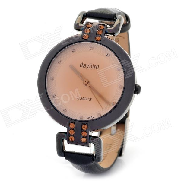 Daybird Fashion PU Leather Band Round Dial Quartz Waterproof Wrist Watch - Black (1 x LR626) amk7000s camera 1080p hd action digital camera 2 0 lcd 4k wifi sport dv video photo camera 20mp waterproof 40m mini camcorder