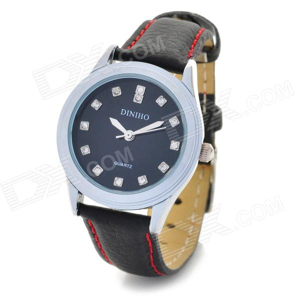DINIHO Fashion Lady's PU Leather Band Round Dial Quartz Waterproof Wrist Watch - Black (1 x LR626) fashion pu leather band round dial quartz wrist watch red dark brown 1 x sr626