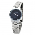 DINIHO Lady's Stainless Steel Round Dial Quartz Waterproof Wrist Watch - Black + Silver (1 x LR626)