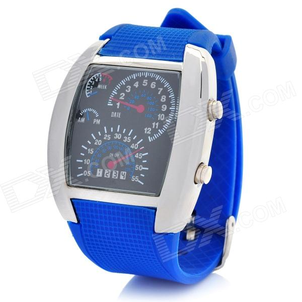 Sports Fashion Rubber Band Blue / White / Green LED Digital Wrist Watch - Blue + Black (2 x CR2016)