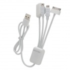 4-in-1 USB 2.0 Data Charging Cable w/ Apple 30-Pin / Mini USB / Micro USB / USB Female Port - White