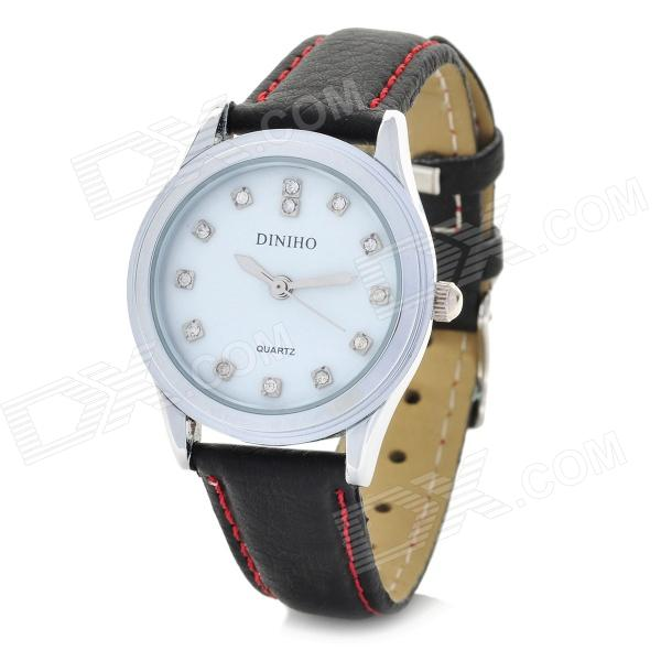 DINIHO Fashion Lady's PU Leather Band Round Dial Quartz Wrist Watch - White + Black (1 x LR626)