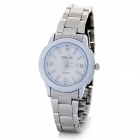 DINIHO Fashion Stainless Steel Analog Quartz Waterproof Wrist Watch - White + Silver (1 x LR626)