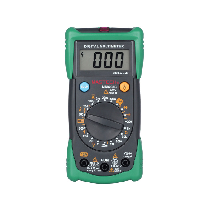 Mastech MS8233B 2.0 LCD Digital Multimeter AC Voltage Detector - Green (1 x 6F22 9V) professional deep search metal detector goldfinder underground gold high sensitivity and lcd display metal detector finder