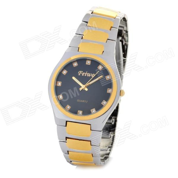 Genuine Feiwo Fahion Men's Steel Band Dial Quartz Wrist Watch - Black + Golden + Silver (1 x 377) men s silicone band big square dial quartz wrist watch black golden 1 x 377