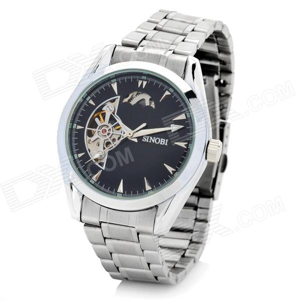 SINOBI Steel Round Self-Winding Mechanical Analog Waterproof Wrist Watch - Black + Silver