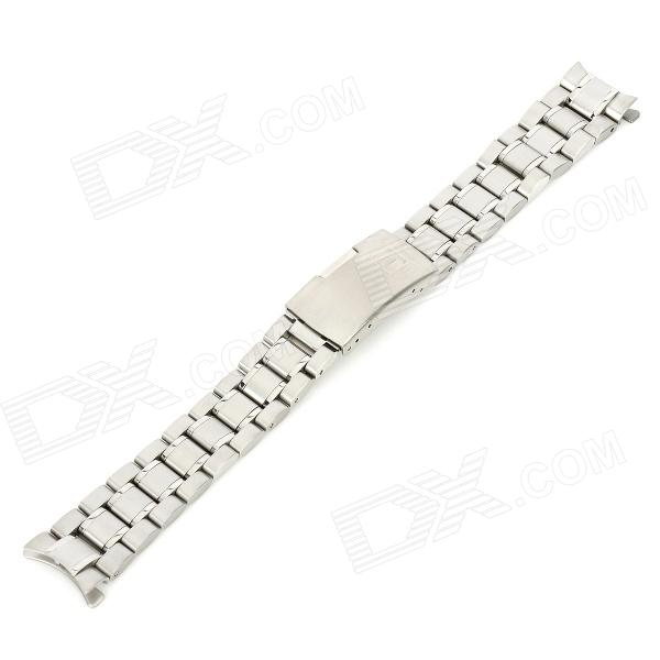 Curve End Solid Stainless Steel Wristwatch Strap Watchband - Silver
