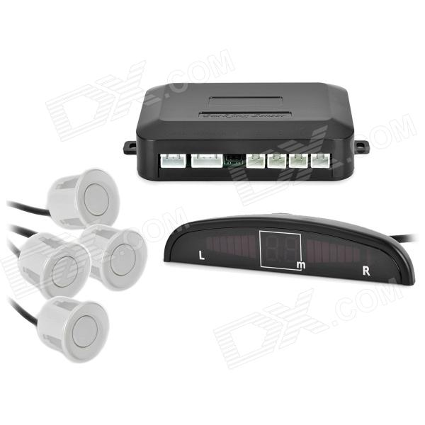 LH-811 Car Parking Sensor / Radar Kit - White (12V) 3 5 led display car parking sensor radar kit black dc 10 5v 15v