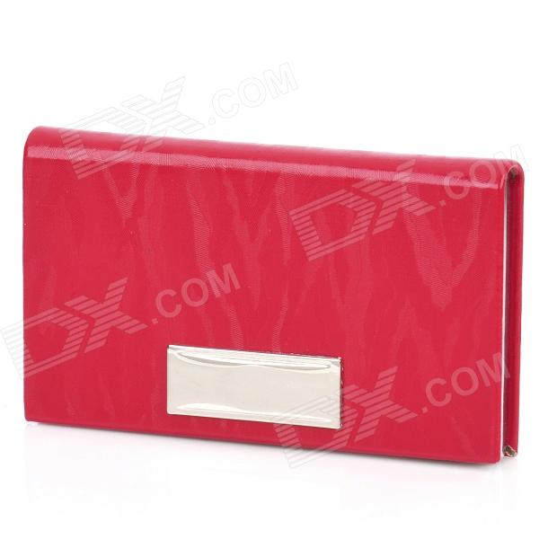 Stainless Steel + PU leather Business Card Case - Red