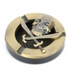 Cool Round Pirate Pattern Metal Cigarette Ashtray - Bronze + Black