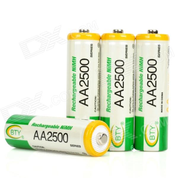"""BTY Rechargeable 1.2V """"2500mAh"""" Ni-MH AA Batteries (4-Piece Pack)"""