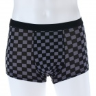 Men's Soft Check Pattern Collagen Fiber Boxer Brief Underwear Pants - Black (Size-M)