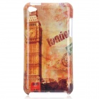 London Big Ben Style Protective PC Back Case for Ipod Touch 4 - Yellow + Red