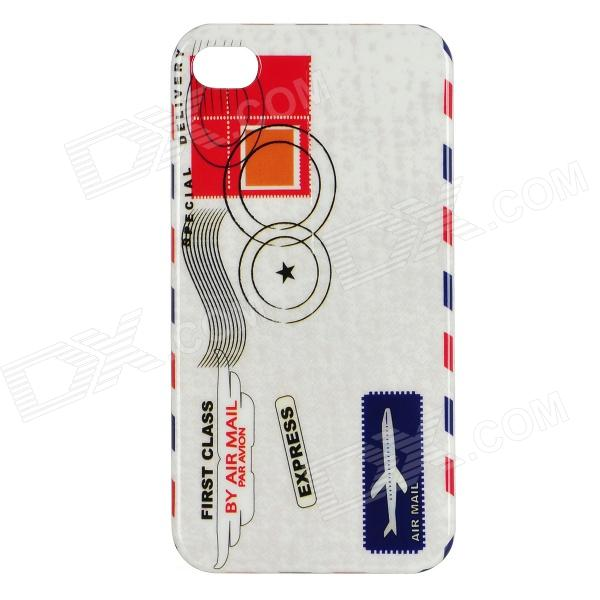 Air Mail Parcels Style Protective PC Back Case for Iphone 4 / 4S - White + Red + Blue + Black stylish bubble pattern protective silicone abs back case front frame case for iphone 4 4s