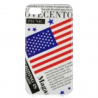U.S. Magazine Style Protective PC Back Case for Iphone 4 / 4S - White + Red + Blue + Black