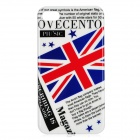 British Magazine Style Protective PC Back Case for Iphone 4 / 4S - White + Blue + Red