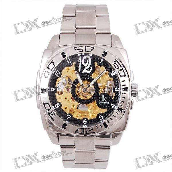 Stainless Steel Self-Winding Mechanical Wristwatch with GITD Hands