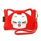 Cute Cartoon Fox Style PU Leather Zipper Wallet Coin Purse Cell Phone Storage Pouch Bag - Red