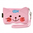Cute Cartoon Cat Style PU Leather Zipper Wallet Coin Purse Cell Phone Storage Pouch Bag - Pink