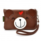 Cute Cartoon Bear Style PU Leather Zipper Wallet Coin Purse Cell Phone Storage Pouch Bag - Brown