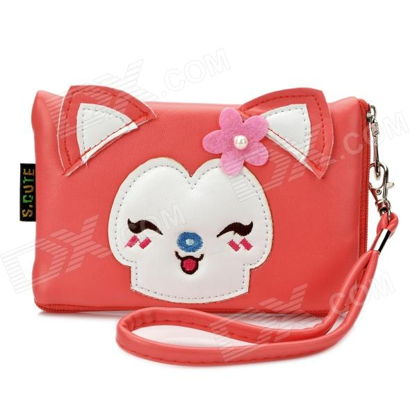 Cute Cartoon Fox Style PU Leather Zipper Wallet Coin Purse Cell Phone Storage Pouch Bag - Deep Pink